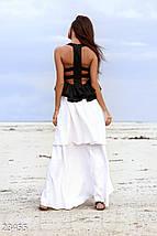 Красивое платье длинное без рукав спина с вырезами черно белое, фото 3