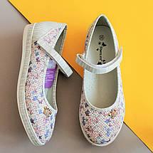 Белые туфли для девочки с рисунком цветы тм Тom.m р.35, фото 2
