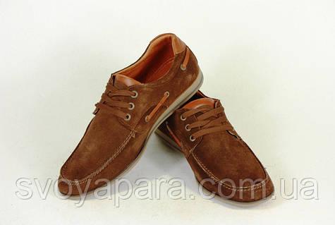 Туфли мужские замшевые коричневые мокасин на шнурках