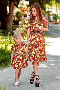 Family look Парные платья Лимоны мама дочка