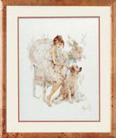 """PN-0007951 Набор для вышивки крестом LanArte Girl in Chair with Dog """"Девушка в кресле с собакой"""""""
