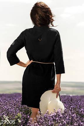 Летнее платье мини прямое рукав три четверти с поясом черное, фото 2