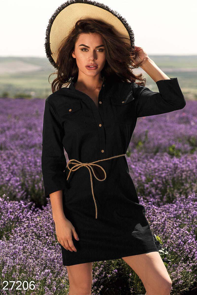 Летнее платье мини прямое рукав три четверти с поясом черное