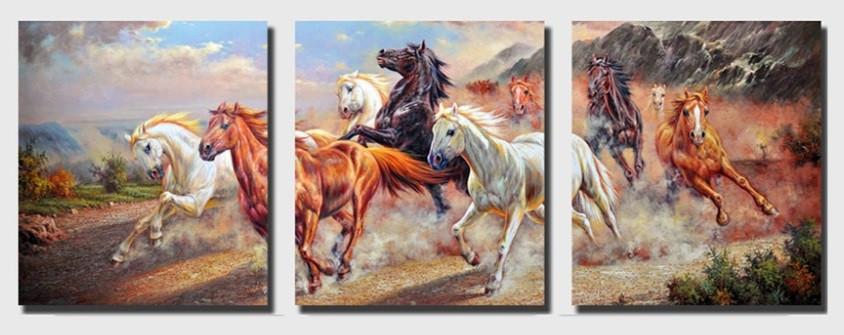 Картины по номерам 50х120 см. Триптих Дикие лошади