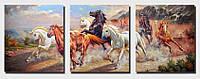 Картины по номерам 50х150 см. Триптих Дикие лошади , фото 1