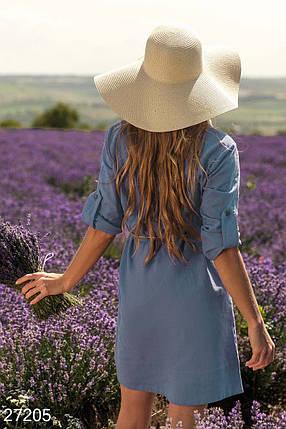 Модное платье рубашка мини рукав три четверти с поясом синее, фото 2