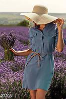 Модное платье рубашка мини рукав три четверти с поясом синее