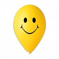 """Воздушные шары """"Смайлы жёлтые"""" 9""""(23см) пастель В упак:100шт ТМ """"Gemar"""""""