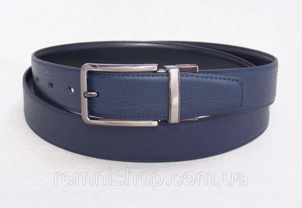 Мужской ремень кожаный Alon двухсторонний (синий / черный)