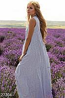 Красивое летнее платье свободное без рукав с воротником синее с белым