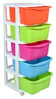 Органайзер для детских игрушек с разноцветными 5 ящикам
