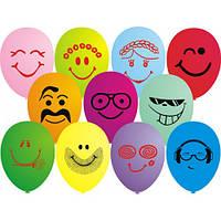 """Воздушные шары """"Смайлы стильные цветные"""" 12""""(30 см) пастель ассорти В упак:100шт ТМ """"Gemar"""""""