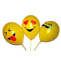 """Воздушные шары """"Смайлы Весёлые жёлтые"""" 12""""(30 см) пастель В упак:100шт ТМ """"Gemar"""""""