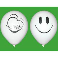 """Воздушные шары """"Смайлы Белые"""" 12""""(30 см) пастель В упак:100шт ТМ """"Gemar"""""""
