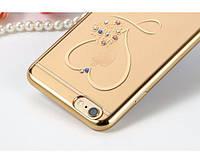 Силиконовый бампер для Iphone 6 / 6s Сердце со стразами