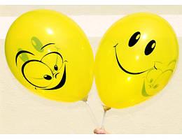 """Воздушные шары """"Смайлы жёлтые"""" 12""""(30 см) Кристалл В упак:100шт ТМ """"Gemar"""""""