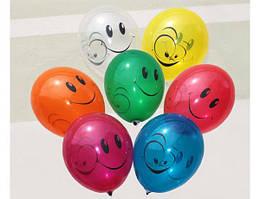"""Воздушные шары """"Смайлы цветныё"""" 12""""(30 см) Кристалл В упак:100шт ТМ """"Gemar"""""""