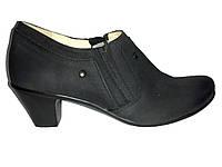 Кожаные польские черные женские удобные закрытые туфли 39 Tanex