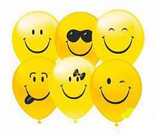 """Воздушные шары Смайлики группа-1 12""""(30 см) пастель желтая В упак: 100штук Пр-во:ТМ""""Show"""""""