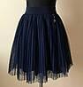 Школьная юбка для девочки с фатином синего цвета