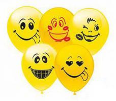 """Воздушные шары Смайлики группа-2 12""""(30 см) пастель желтая В упак: 100штук Пр-во:ТМ""""Show"""""""