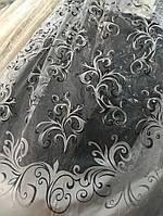 """Красивая гардина с плотным низом на органзе """"Морозный вензель"""", фото 1"""