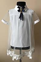 Нарядная блузка для школы белого цвета 2018
