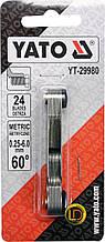 Резьбомер метрический 60° YATO з 24 шаблонами в диапазонеі 0,25- 6,0 мм