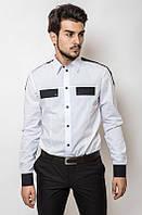 Рубашка белая мужская Украина приталенная