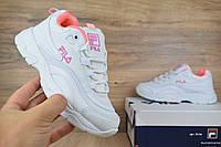 Женские кеды Fila Ray белые с розовым Топ Реплика Хорошего качества, фото 1