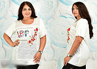 Жіноча футболка біла з принтом, з 52 - 56 розмір, фото 1