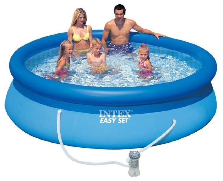 Надувной семейный бассейн Intex 28122 размер 305*76 см + фильтр-насос