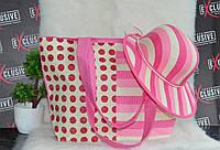 Розовый комплект сумка + шляпа пляжная 2в1., фото 1