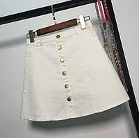 Женская юбка трапеция на пуговицах белая, фото 1