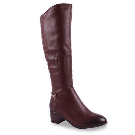 Кожаные сапоги  Miratini (зимние, удобный каблук, коричневые, пряжка, на замке, теплые, стильные)