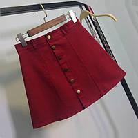 Женская юбка трапеция на пуговицах бордовая (марсала) М, фото 1