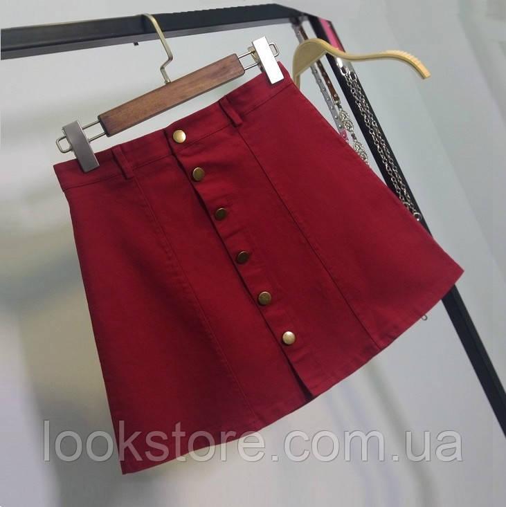 Женская юбка трапеция на пуговицах бордовая (марсала) М