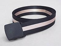 Тканевый черно-бежевый ремень , фото 1