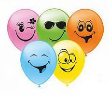 """Воздушные шары Смайлики группа-4 12""""(30 см) пастель желтая В упак: 100штук Пр-во:ТМ""""Show"""""""