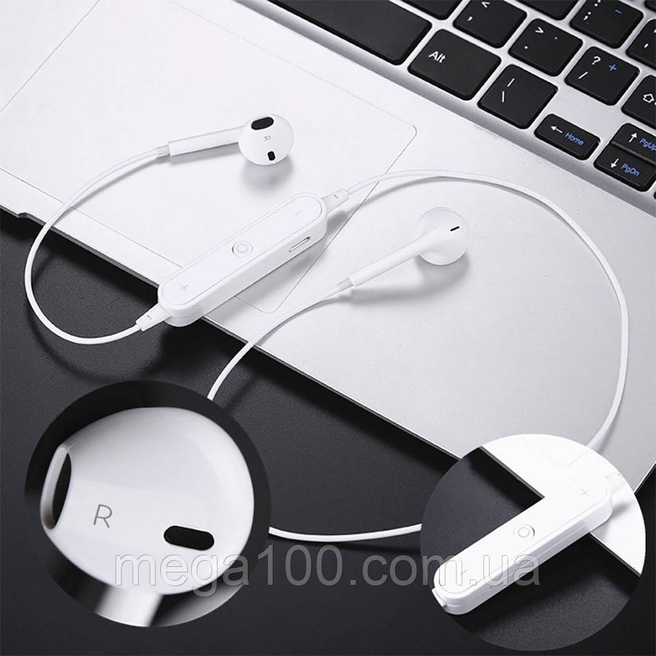 Блютуз гарнитура беспроводная, Bluetooth наушники S6 цвет белый