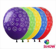 """Воздушные шары Смайлики в кружочках 12""""(30 см) пастель желтая В упак: 100штук Пр-во:ТМ""""Show"""""""
