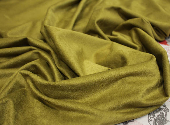 Ткань замша стрейч оливковая (от 10 метров), фото 2