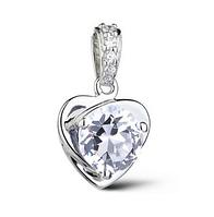 Стильная подвеска Сердце стерлинговое серебро 925 пробы (код 1004)