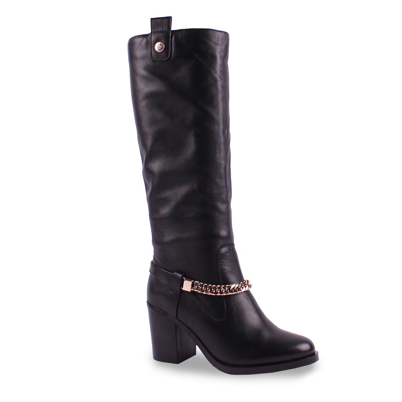 Женские сапоги Dina Fabiani (натуральная кожа, удобный каблук, красивая пряжка, теплые, зимние, черные)