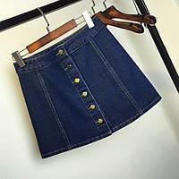 Джинсовая женская юбка трапеция на пуговицах темно синяя, фото 1
