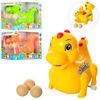 Заводная игрушка 825, динозавр, ездит, несет яйца(3шт), 3цвета, в кор-ке, 13-11, 5-9, 5см