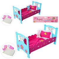 Кроватка M 3836-07, для пупса, 40см, постель, подгуз, бутылоч, соска, игрушка, 2вид, в куль, 27-50-7см