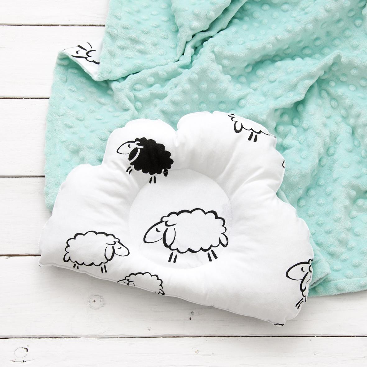 """Плед на выписку и подушка для новорожденного """"Мята и барашки"""""""