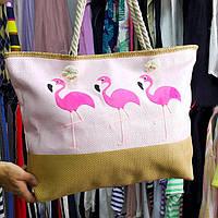 Сумка розовая фламинго розовые 211-03