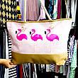 Пляжна Сумка Рожева - Фламінго 211-03 - літня сумочка на пляж, море ,Супер Якість, фото 3